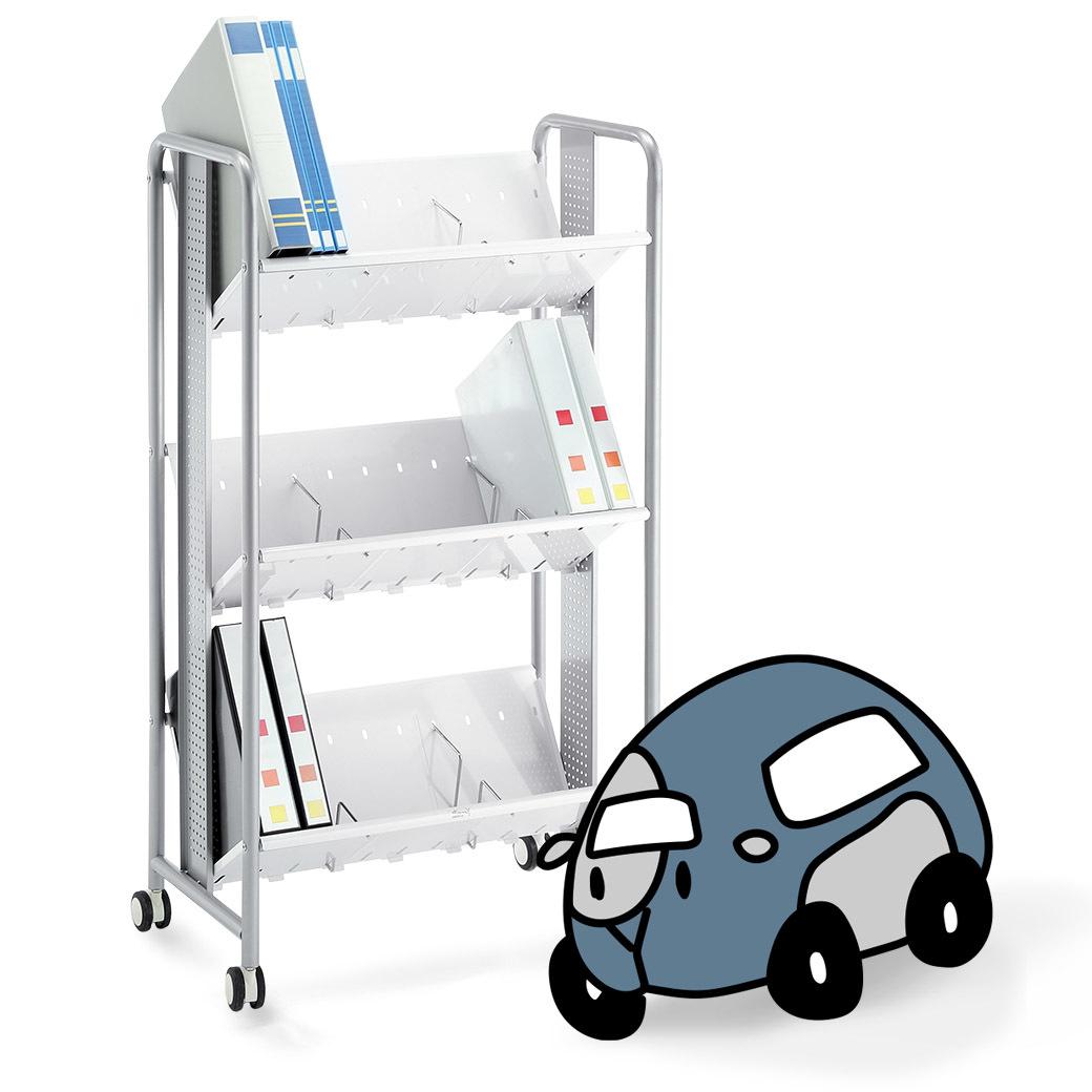 靜音腳輪型耐重型三層文件收納車車