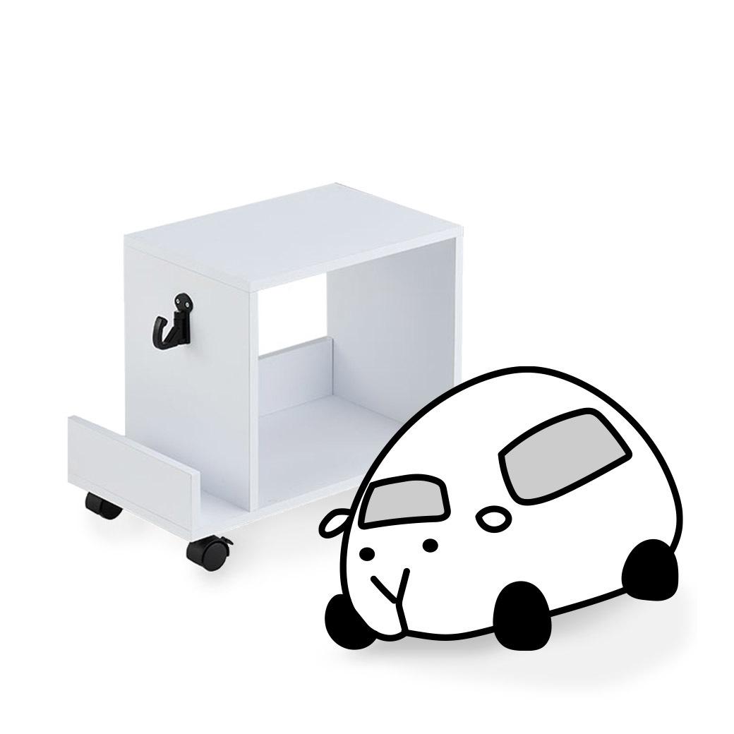 簡約純白桌下收納車車